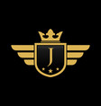 letter j initial wing with shield and crown vector image vector image