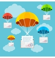 Mail Delivery Parachute in Sky vector image vector image