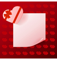Note with gift on red background with hearts vector image vector image