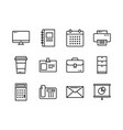 office icon set outline style symbols vector image
