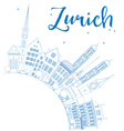 Outline Zurich Skyline with Blue Buildings vector image vector image