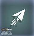 Paper airplane icon symbol on the blue-green vector image
