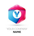 realistic letter y in colorful hexagonal vector image vector image