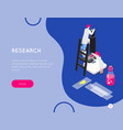 research isometric banner composition vector image vector image