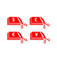 scissors money bill cut vector image