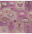 seamless pattern wine labels vector image vector image