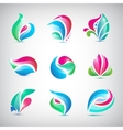 set of colorful abstract spa floral logos vector image vector image