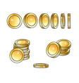 set of rotating turning gold coins and stakcs vector image vector image