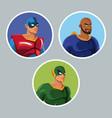 set superhero comic protect avatar icons vector image