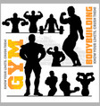 silhouettes of bodybuilders - gym icon set vector image vector image