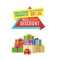 special offer banner with pile of boxes vector image vector image