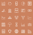 Stock market line icons on brown background vector image vector image
