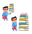superhero with books vector image vector image