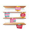 supermarket shelves valentine s day sale vector image vector image