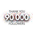 thank you 90000 followers poster with colorful vector image