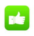 thumb up gesture icon digital green vector image