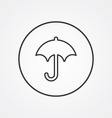 umbrella outline symbol dark on white background vector image vector image