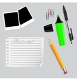 Various office supplies on business theme vector image vector image