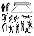 volleyball player actions poses postures stick vector image