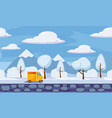 winter landscape trees and snow delivery track vector image vector image