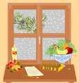 Winter window manuscript and rare books vector image vector image