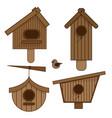wooden birdhouses set of vector image vector image