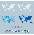 Political world map and geo tag pin pointers vector image