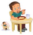 a little boy eating vector image