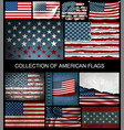 set of american flags of developing and vintage vector image