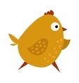 Cute chicken cartoon waving running yellow farm vector image