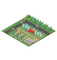 isometric industrial oil field plant concept vector image