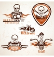 Set of vintage motorcycle labels badges and design vector image