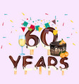 60 years happy birthday card vector image vector image