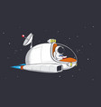 astronaut flies on starship vector image vector image