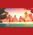 beautiful tropical beach sunset landscape summer vector image