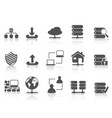 black network server hosting icons set vector image vector image