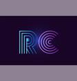 blue pink rc r c gradient alphabet letter vector image vector image