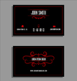Business card template - red and black flourish de vector image vector image
