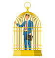 business man locked in birds cage vector image