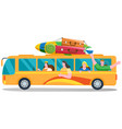 car summer trip happy people on holidays on vector image