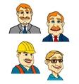 Cartoon male businessmen builder doctor characters