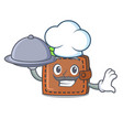 chef with food wallet mascot cartoon style vector image vector image