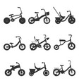 children bicycles silhouettes vector image