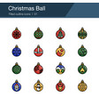 christmas ball icons filled outline design vector image