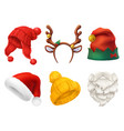 christmas mask santa claus hat knitted hat 3d vector image