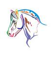 colorful horse portrait 2 vector image vector image