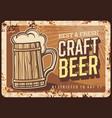 craft beer brewery rusty metal plate vector image vector image