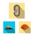 design of mountaineering and peak logo set vector image