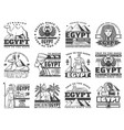 egypt and cairo travel icons vector image
