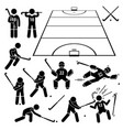field hockey player actions poses stick figure vector image